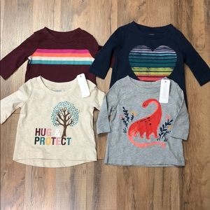 Gymboree Baby Girl Lot of 4 Long Sleeve Shirts NWT